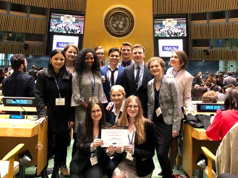 The NMUN simulated conference brings together students from various campuses.